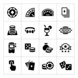 Vastgestelde pictogrammen van casino Royalty-vrije Stock Afbeelding