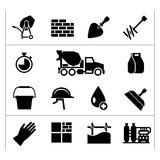 Vastgestelde pictogrammen van cement en beton Stock Foto's