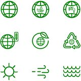 Vastgestelde pictogrammen van de bol en het aarde verwante overzicht stock illustratie