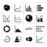 Vastgestelde pictogrammen van diagrammen, grafieken en bedrijfsinfographics Stock Fotografie