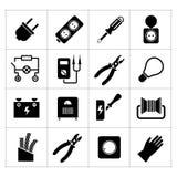 Vastgestelde pictogrammen van elektriciteit Stock Afbeeldingen