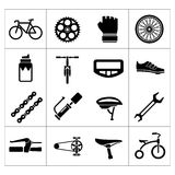 Vastgestelde pictogrammen van fiets, het biking, fietsdelen en materiaal Royalty-vrije Stock Afbeeldingen