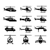 Vastgestelde pictogrammen van helikopters Royalty-vrije Stock Afbeeldingen