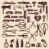 Vastgestelde pictogrammen van het haircutting van hulpmiddel - Illustratie Stock Fotografie