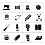 Vastgestelde pictogrammen van het naaien Stock Foto