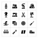 Vastgestelde pictogrammen van het naaien Stock Afbeeldingen