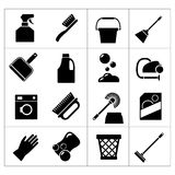 Vastgestelde pictogrammen van het schoonmaken Stock Foto