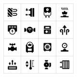 Vastgestelde pictogrammen van het verwarmen Stock Afbeeldingen