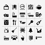 Vastgestelde pictogrammen van hotel, herbergen en huurflats Royalty-vrije Stock Fotografie