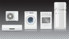 Vastgestelde pictogrammen van huishoudapparaten op een transparante achtergrond Airconditioning, wasmachine, gashaardplaat en wit Stock Foto's