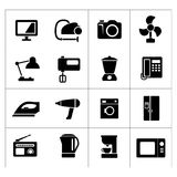 Vastgestelde pictogrammen van huistechnieken en toestellen Stock Afbeeldingen