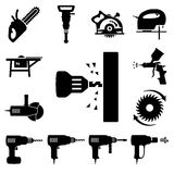 Vastgestelde pictogrammen van hulpmiddelen Stock Foto's