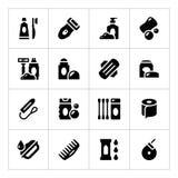 Vastgestelde pictogrammen van hygiëne Stock Afbeelding