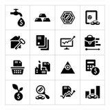 Vastgestelde pictogrammen van investering en financiën Royalty-vrije Stock Foto's
