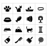 Vastgestelde pictogrammen van katten en kattentoebehoren Royalty-vrije Stock Foto's
