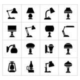 Vastgestelde pictogrammen van lampen Stock Fotografie
