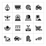 Vastgestelde pictogrammen van landbouw Stock Afbeeldingen
