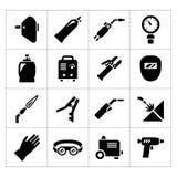Vastgestelde pictogrammen van lassen Royalty-vrije Stock Foto