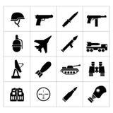 Vastgestelde pictogrammen van leger en militair Royalty-vrije Stock Afbeeldingen