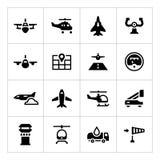Vastgestelde pictogrammen van luchtvaart Stock Foto's