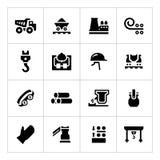 Vastgestelde pictogrammen van metallurgie Stock Afbeeldingen