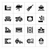 Vastgestelde pictogrammen van mijnbouw Royalty-vrije Stock Foto's