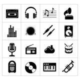 Vastgestelde pictogrammen van muziek en geluid Royalty-vrije Stock Afbeeldingen