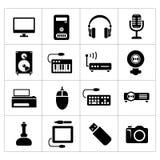 Vastgestelde pictogrammen van PC en elektronische apparaten Stock Fotografie
