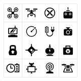Vastgestelde pictogrammen van quadrocopter, hexacopter, multicopter en hommel Royalty-vrije Stock Afbeeldingen