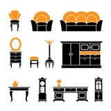 Vastgestelde pictogrammen van retro meubilair en huistoebehoren Stock Foto