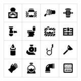 Vastgestelde pictogrammen van riolering Stock Foto's
