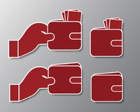 Vastgestelde pictogrammen van rode portefeuille met bankbiljetten en hand met schaduw - is Royalty-vrije Stock Afbeeldingen