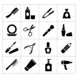 Vastgestelde pictogrammen van schoonheid en schoonheidsmiddelen Royalty-vrije Stock Afbeelding