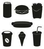 Vastgestelde pictogrammen van snel voedsel zwart silhouet   Stock Afbeelding