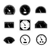 Vastgestelde pictogrammen van snelheidsmeters Stock Afbeeldingen
