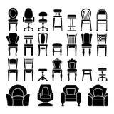 Vastgestelde pictogrammen van stoelen Stock Fotografie
