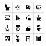 Vastgestelde pictogrammen van toilet Stock Fotografie