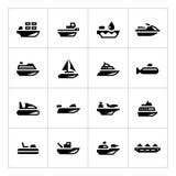 Vastgestelde pictogrammen van watervervoer Royalty-vrije Stock Afbeeldingen