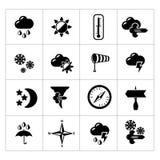 Vastgestelde pictogrammen van weer Stock Afbeelding