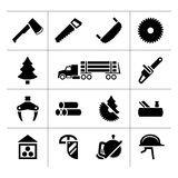 Vastgestelde pictogrammen van zaagmolen, hout, timmerhout en houtbewerking Stock Foto's