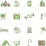 Vastgestelde pictogrammen voor reis en toerisme. Royalty-vrije Stock Fotografie