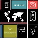 Vastgestelde pictogrammen voor zaken, Internet en mededeling Royalty-vrije Stock Foto's