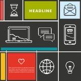 Vastgestelde pictogrammen voor zaken, Internet en mededeling Stock Afbeeldingen