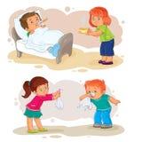 Vastgestelde pictogrammen weinig jongens ziek en medelevend meisje vector illustratie