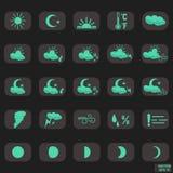 Vastgestelde pictogrammenmeteorologie, weer het voorspellen Stock Afbeelding