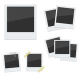 Vastgestelde Polaroid- fotokaders op witte achtergrond Royalty-vrije Stock Afbeeldingen