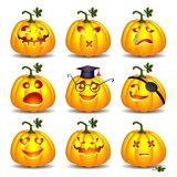 Vastgestelde pompoenen voor Halloween Stock Foto