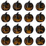Vastgestelde pompoenen voor Halloween Royalty-vrije Stock Fotografie