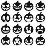 Vastgestelde pompoenen voor Halloween Geïsoleerd op witte vectorpictogrammen Stock Foto's
