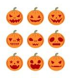 Vastgestelde pompoenenpictogrammen voor Halloween Vector Illustratie